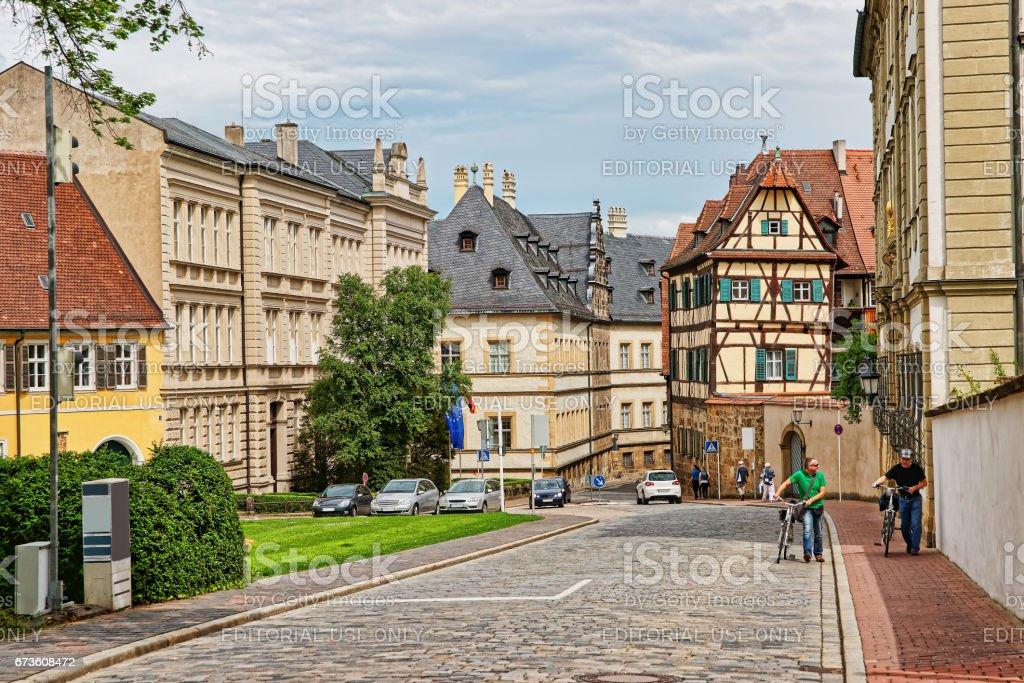 Alte Straße im Zentrum von Bamberg-Stadt in Deutschland – Foto