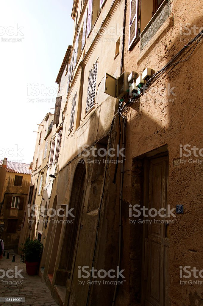 Old street in Bonifacio stock photo