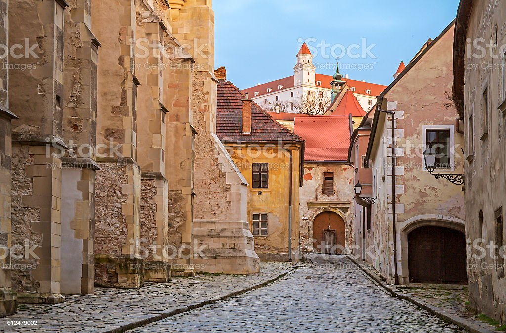 Old street in Bratislava, Slovakia stock photo