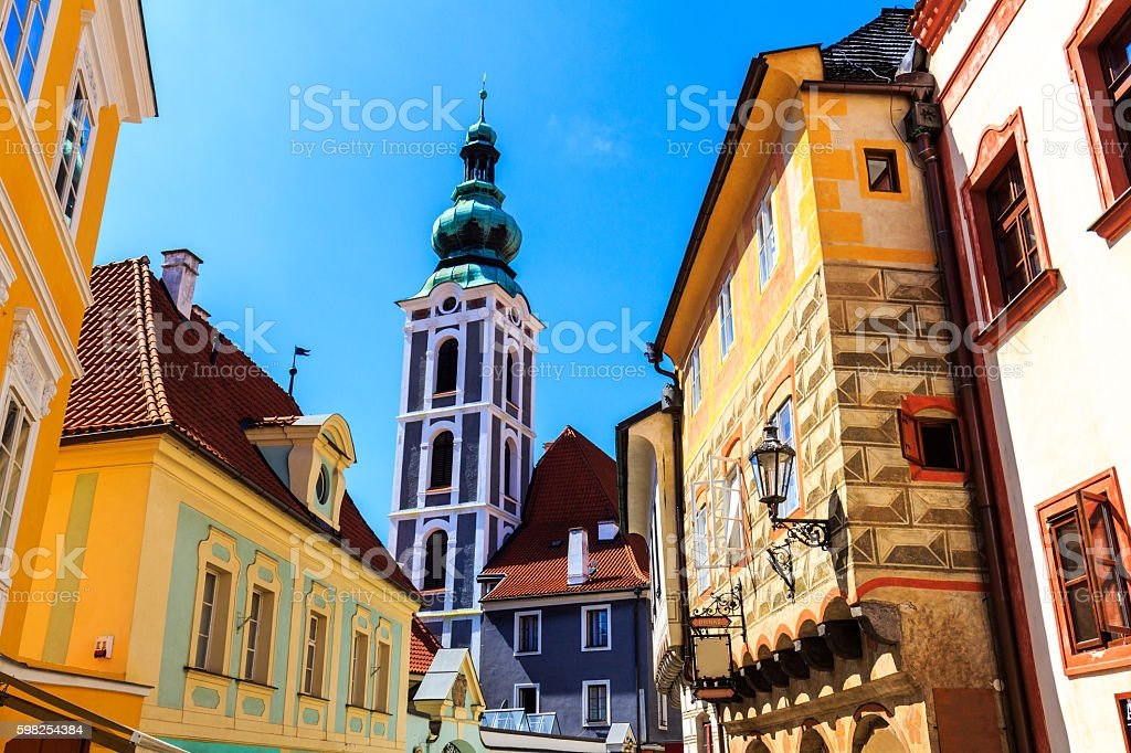 Old street in Cesky Krumlov, Czech Republic stock photo
