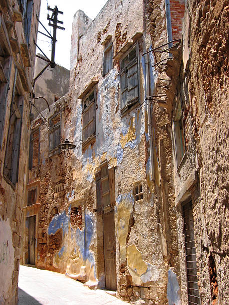 Old street in Chania stock photo