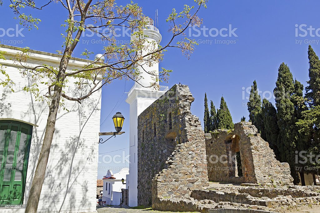 Old street in Colonia, Uruguay. stock photo
