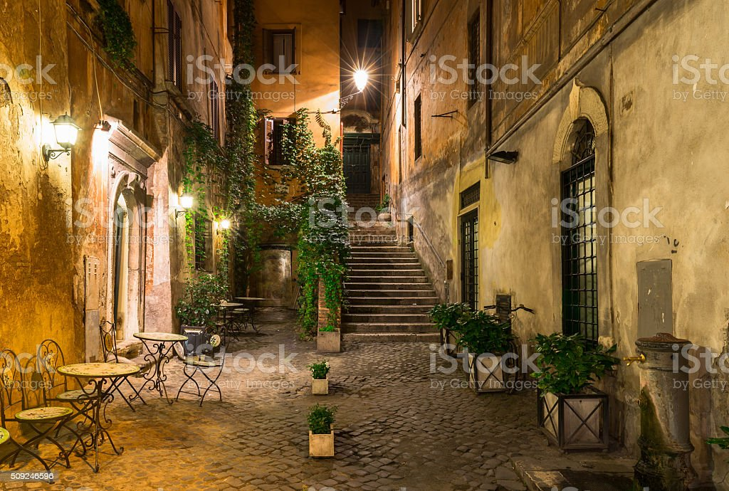 Old street in Rome, Italy stock photo