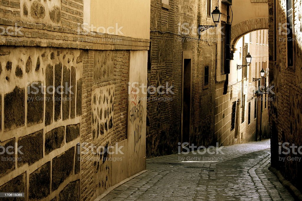 Old street in Toledo stock photo