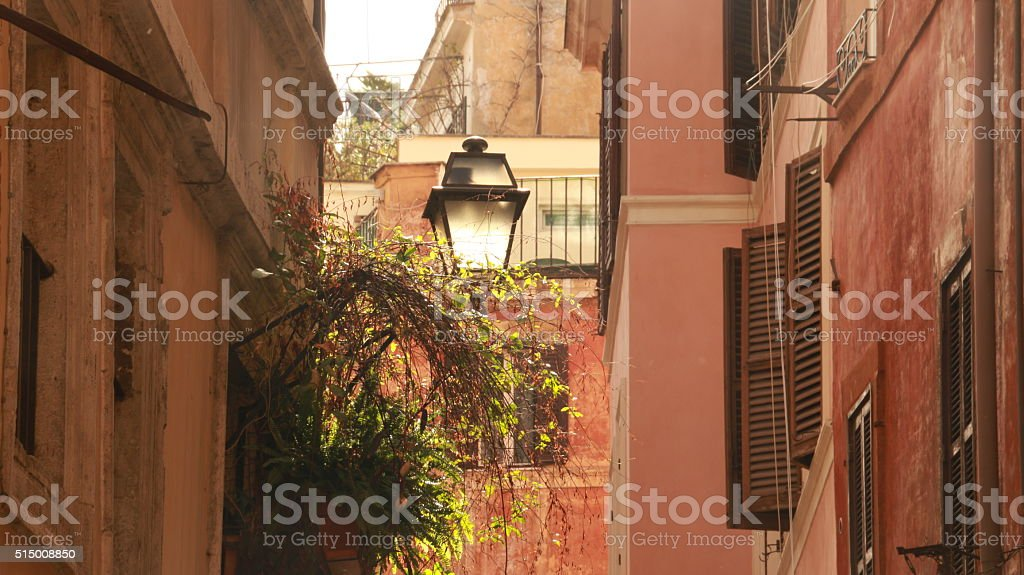 Old street lamp and hanging plants in narrow romantic street stock photo