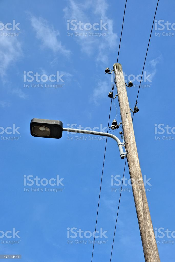 old street lamp in the countryside stock photo