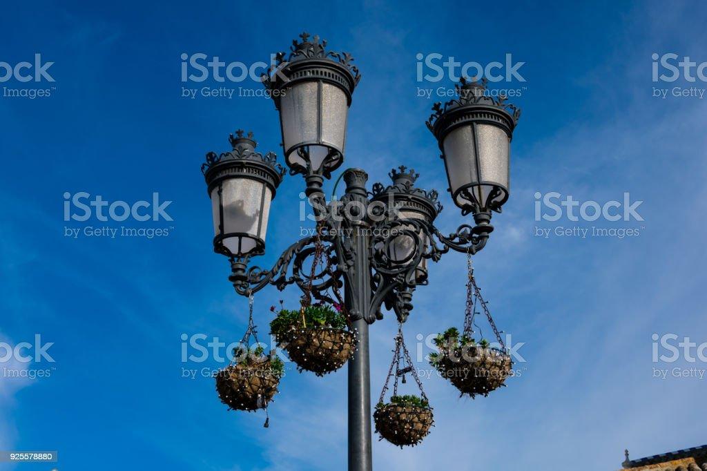 Old street lamp in Zahara de la Sierra stock photo