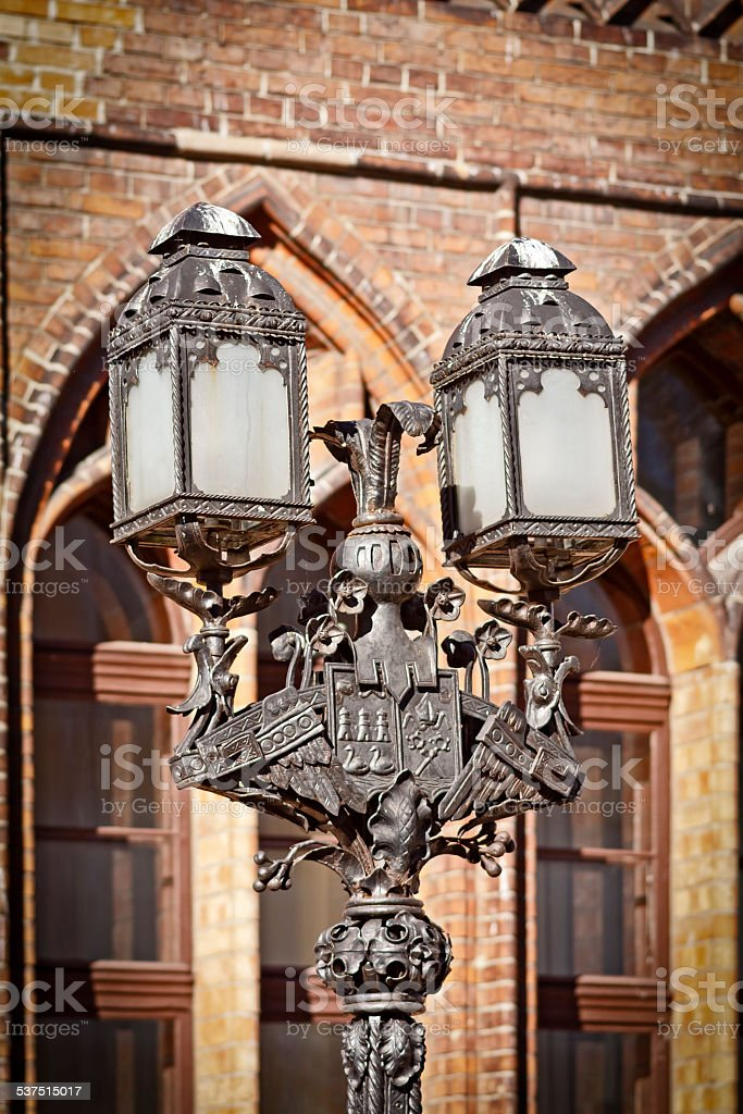 Old street light with coat of arms of Kolobrzeg, Poland