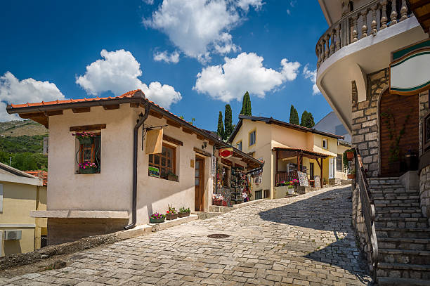 old street of bar touristic town center, montenegro - bar 個照片及圖片檔