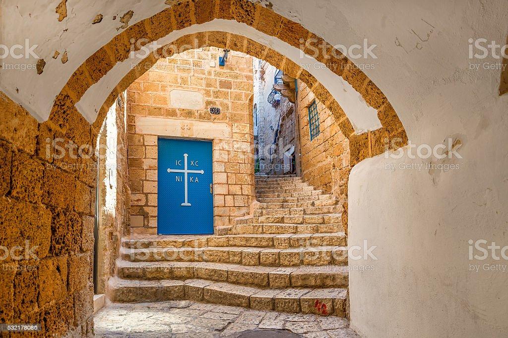 Old street of Jaffa, Israel. stock photo