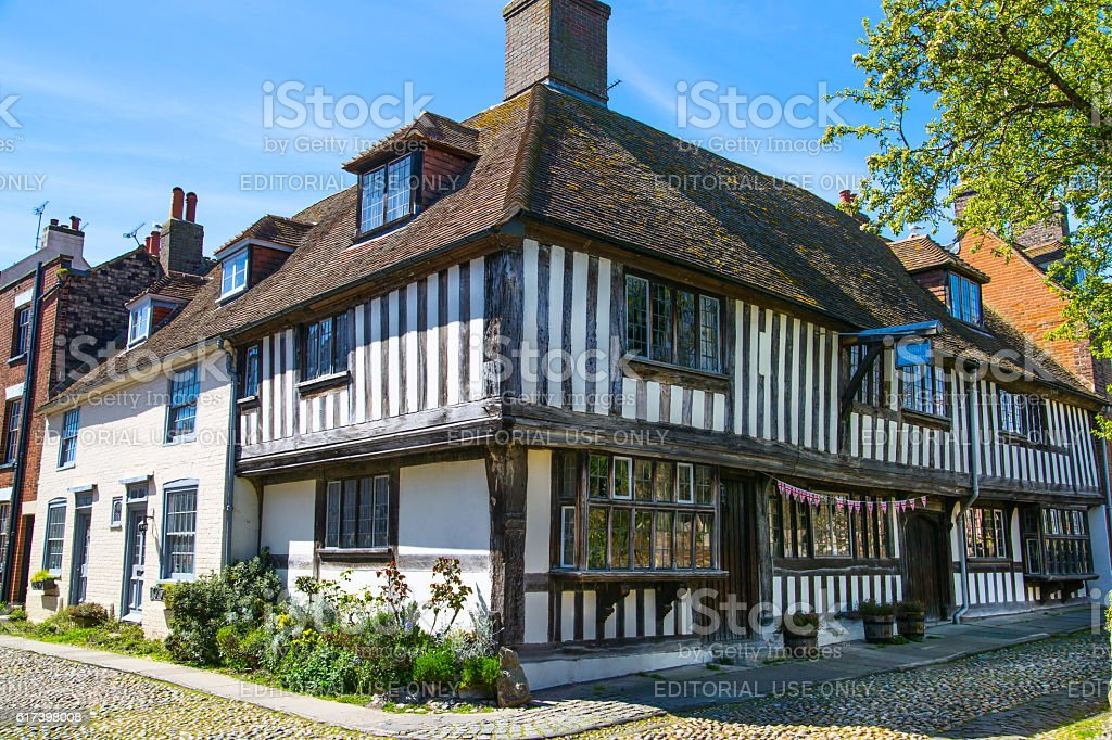 Old street of Rye town with periodic buildings. Rye, England stock photo