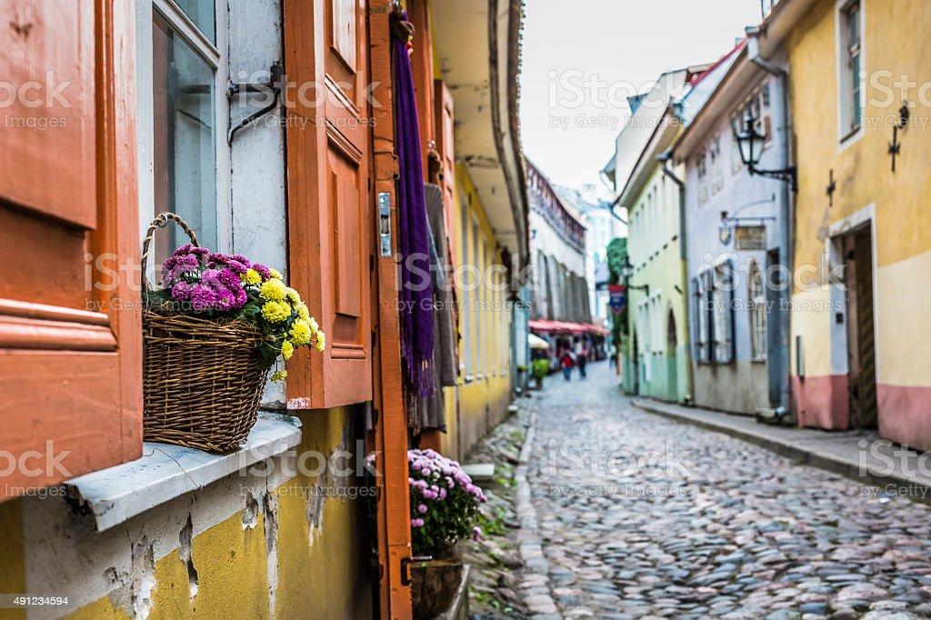 Old Street of Tallinn Estonia stock photo