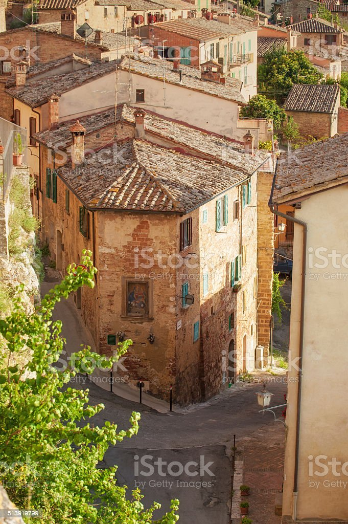 Old streets in the Tuscan town of Montepulciano, Italy stock photo