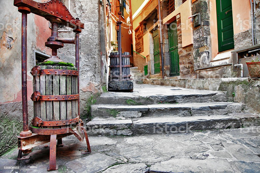 Old streets of italian villages stock photo