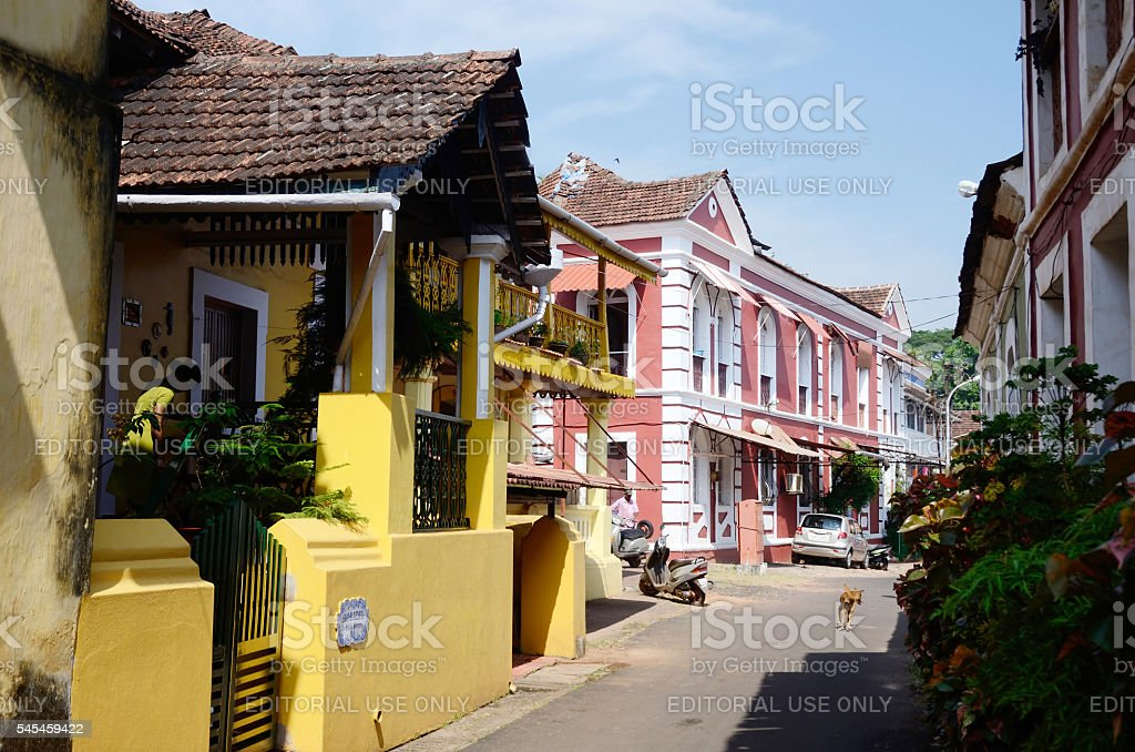 Old streets of Panaji,capital of Goa state,India stock photo
