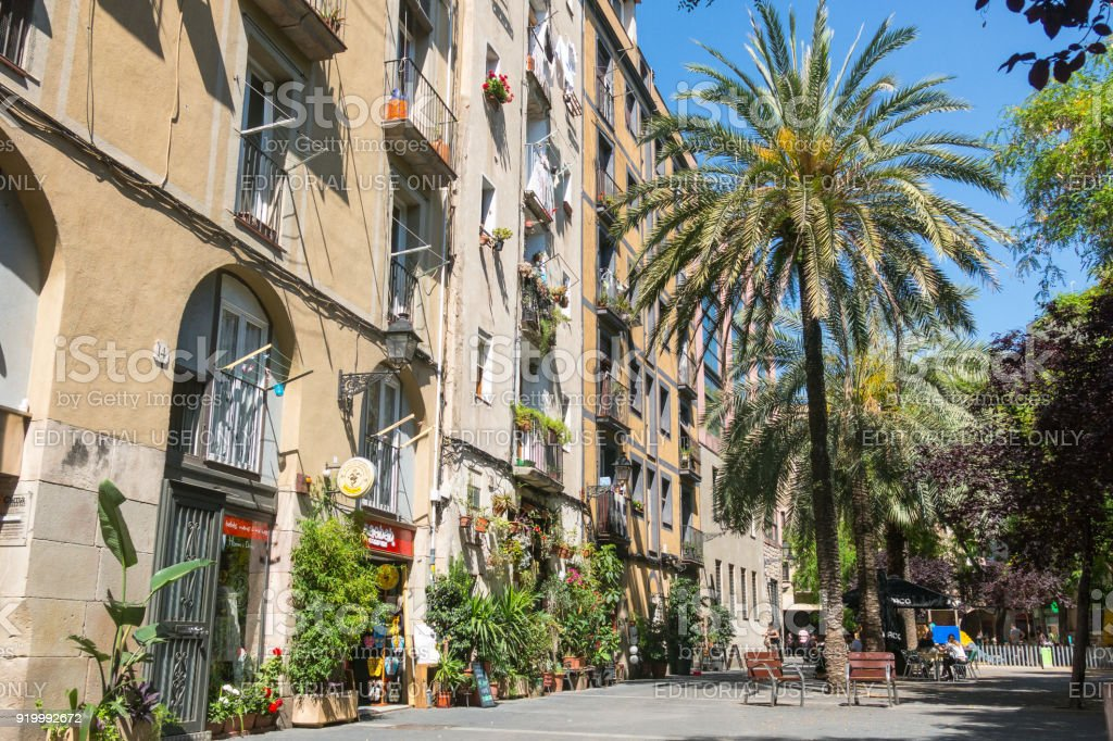 Old streets of the Gothic Quarter of Barcelona, Catalonia. stock photo