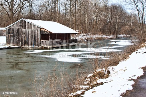 old structure on erie canal in camillus, new york