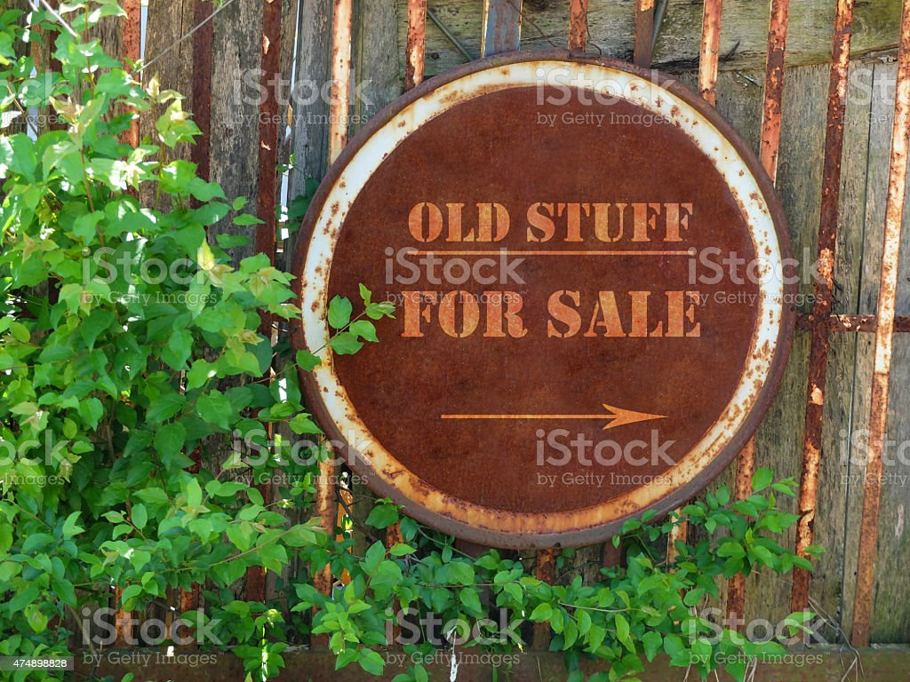 Old Stuff For Sale Signboard In The Garden stock photo | iStock