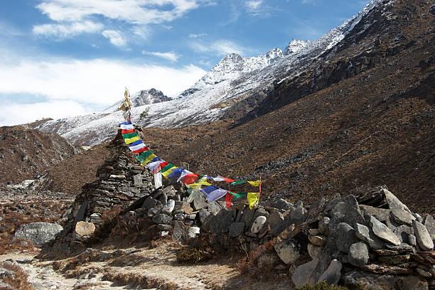 늙음 사리탑, 기도용 포석, 에버레스트 지역, 네팔 스톡 사진