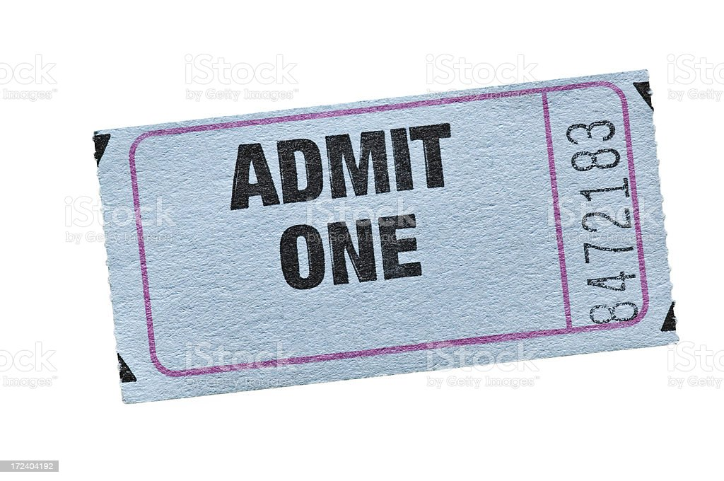 Old Style Admission Ticket stock photo