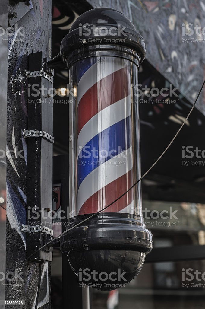 Old Style Barber Pole. stock photo