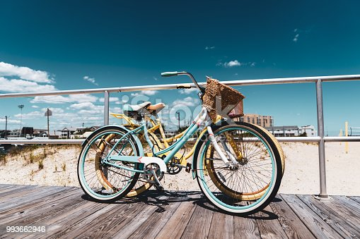 Vintage bikes on boardwalk