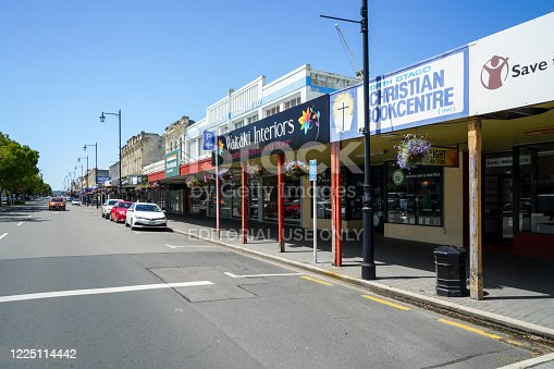 Downtown street view in historic town Oamaru, New Zealand.