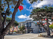 Old style building in Pacific Grove, Monterey, California, USA