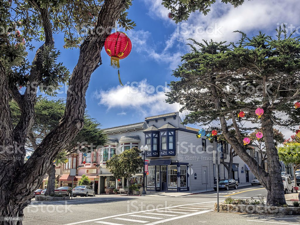 Old style building in Pacific Grove, Monterey, California stock photo