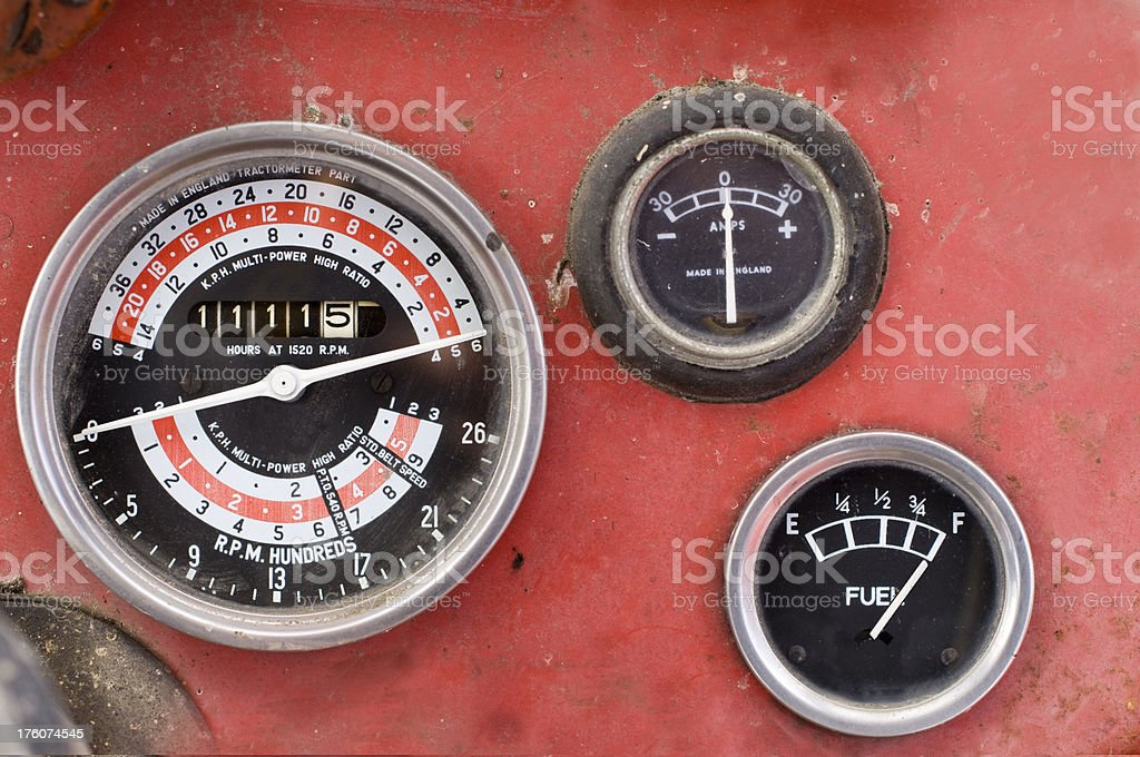 Old Style Car Dials and Gauges stock photo
