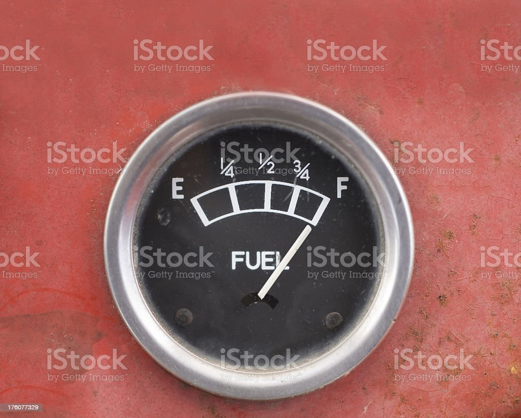 Old Style Car Fuel Gauge stock photo