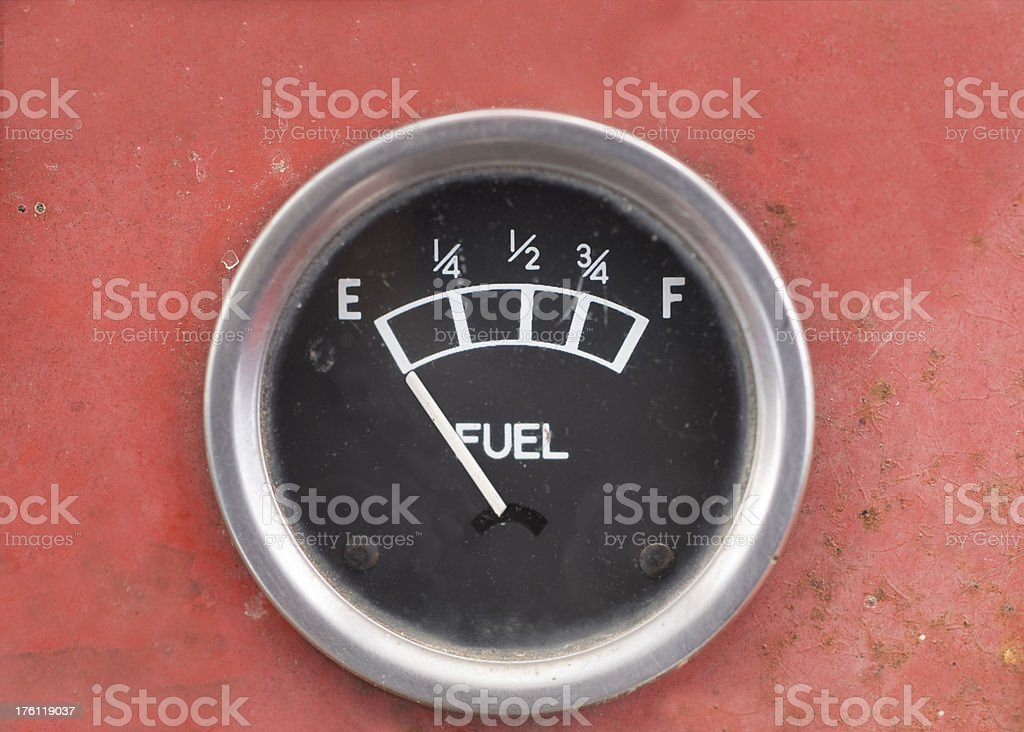 Old Style Car Fuel Gauge Showing Empty stock photo