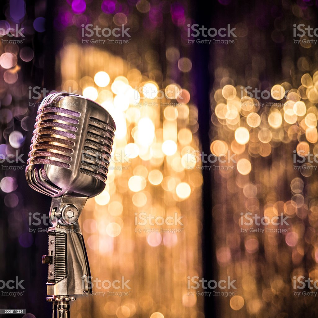 Old style concert microphone stock photo