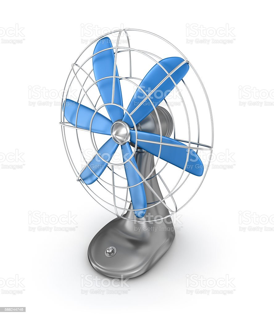 Old style electric fan 3D rendering stock photo