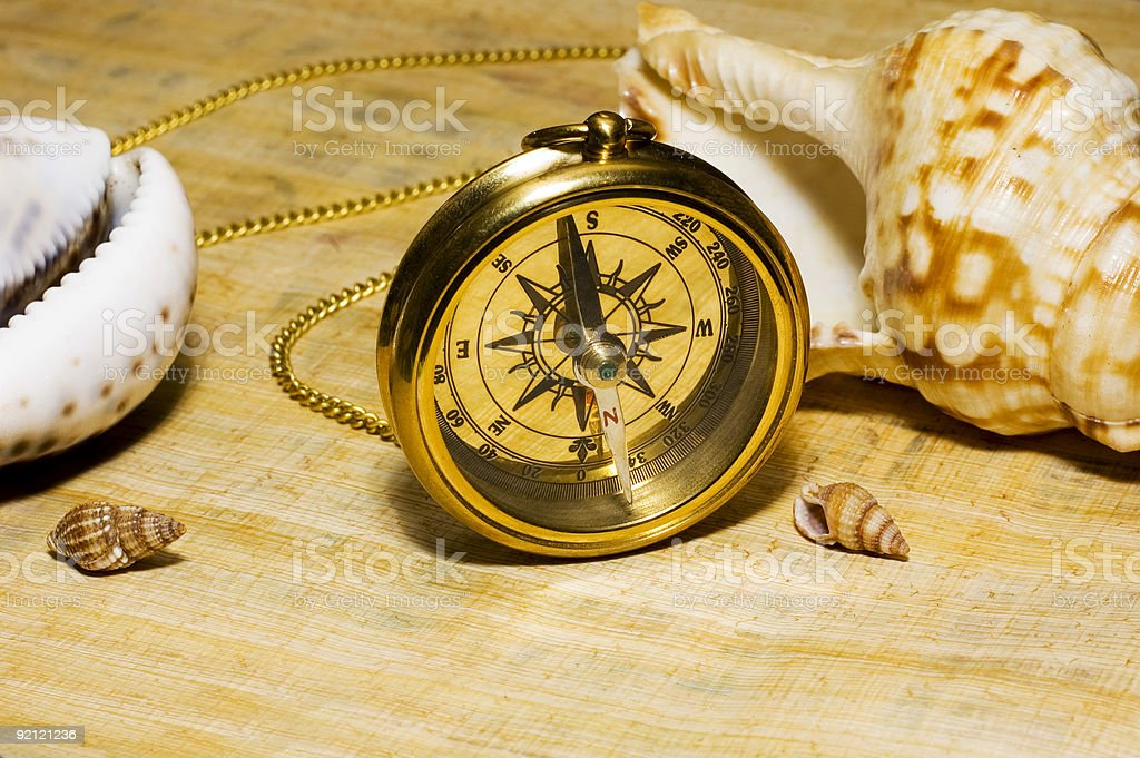 Old style gold compass on papyrus background royalty-free stock photo