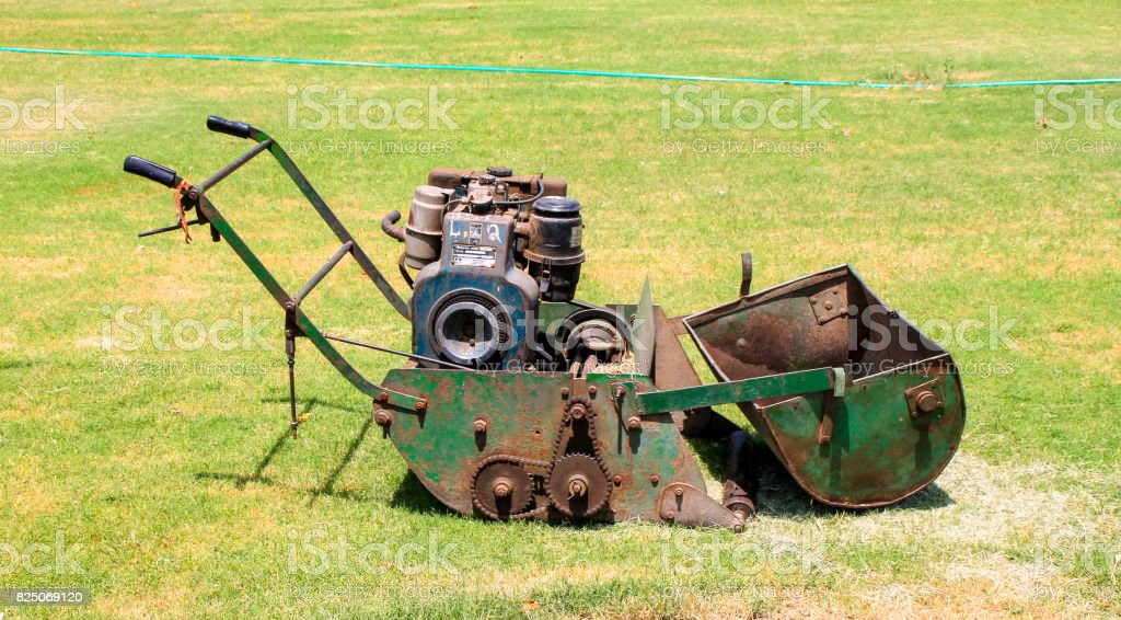 Old Style indian Lawnmower stock photo