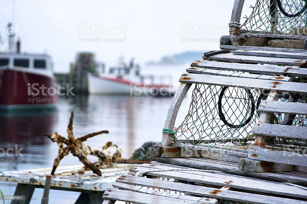 Old style lobster traps royalty-free stock photo