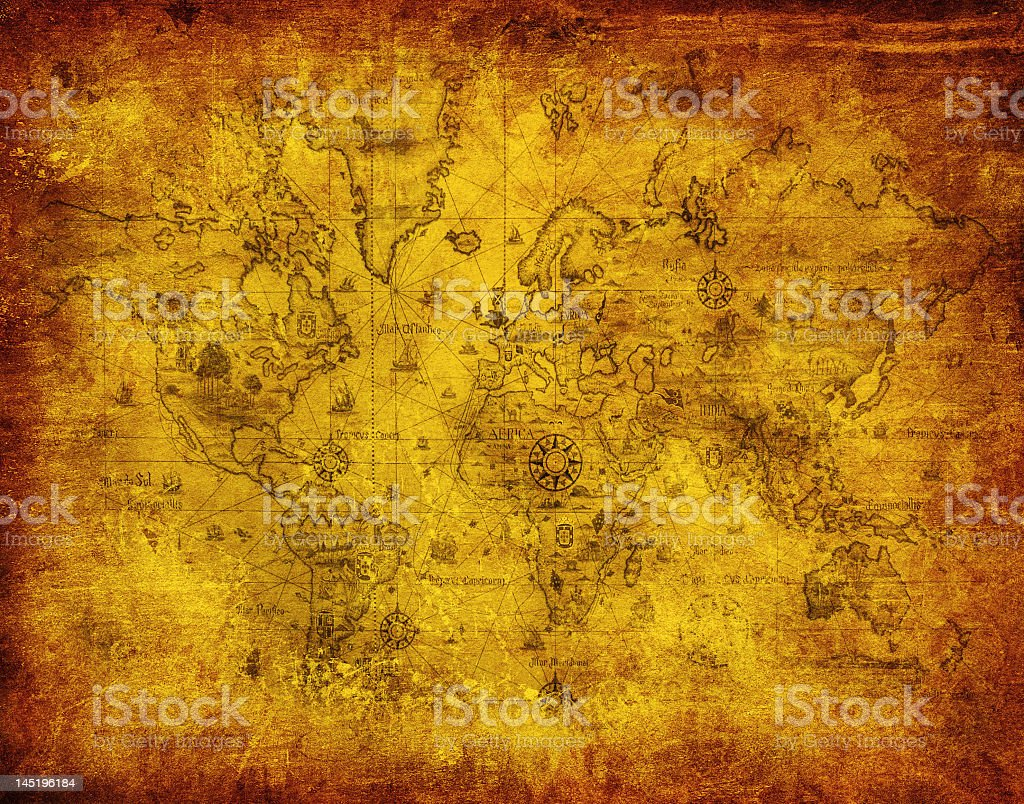 Old style map of the world showing the continents and oceans royalty-free stock photo