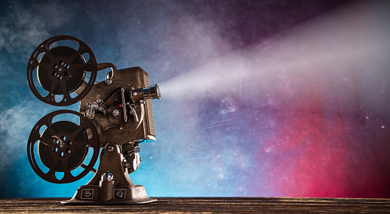 Old style movie projector, close-up
