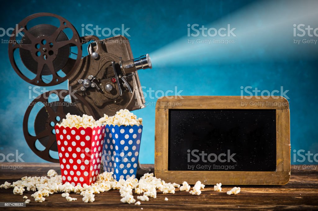 Old style movie projector, close-up stock photo
