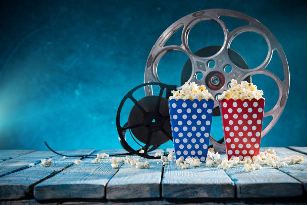 Old style movie reels, close-up stock photo