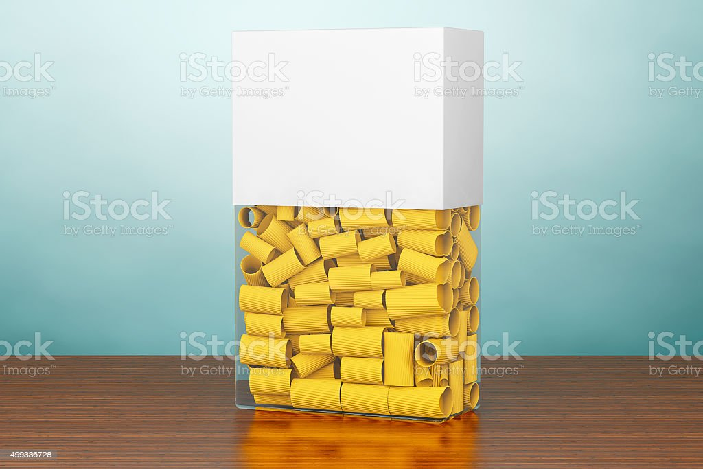 Old Style Photo. Blank Label Box of Pasta stock photo