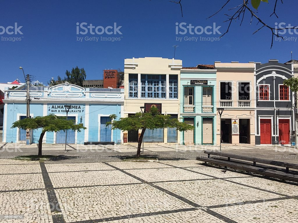 Old style Colorful buildings in the Cultural Center of Fortaleza Architecture Stock Photo