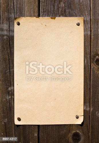 istock Old Style Retro Paper On Wooden Wall 89914312