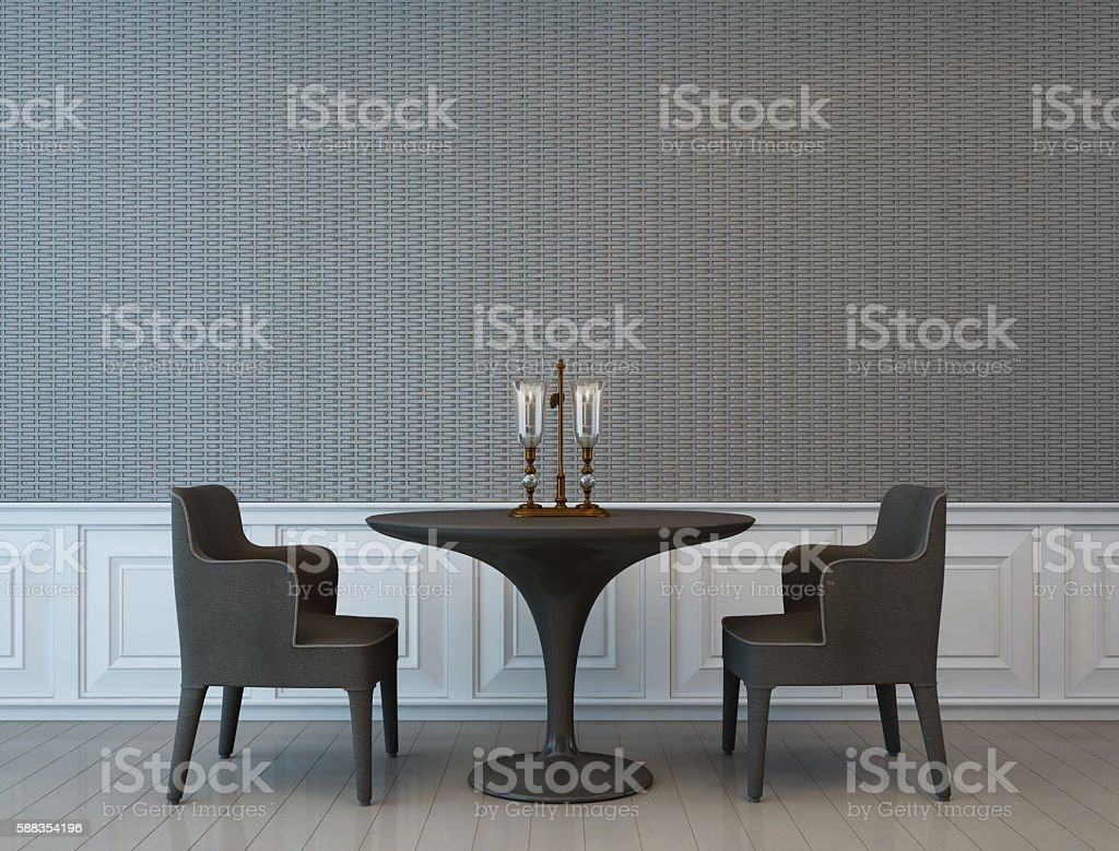 old style room with textile wall stock photo