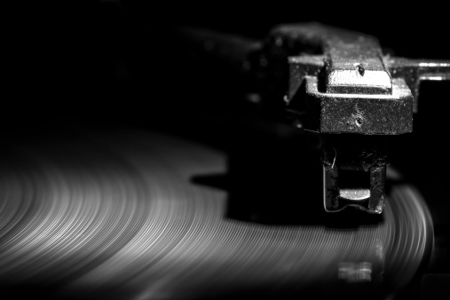 old style turntable, close-up of a needle