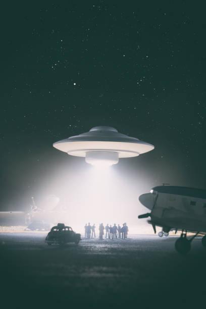 Old Style UFO Encounter, Miniature Photography stock photo