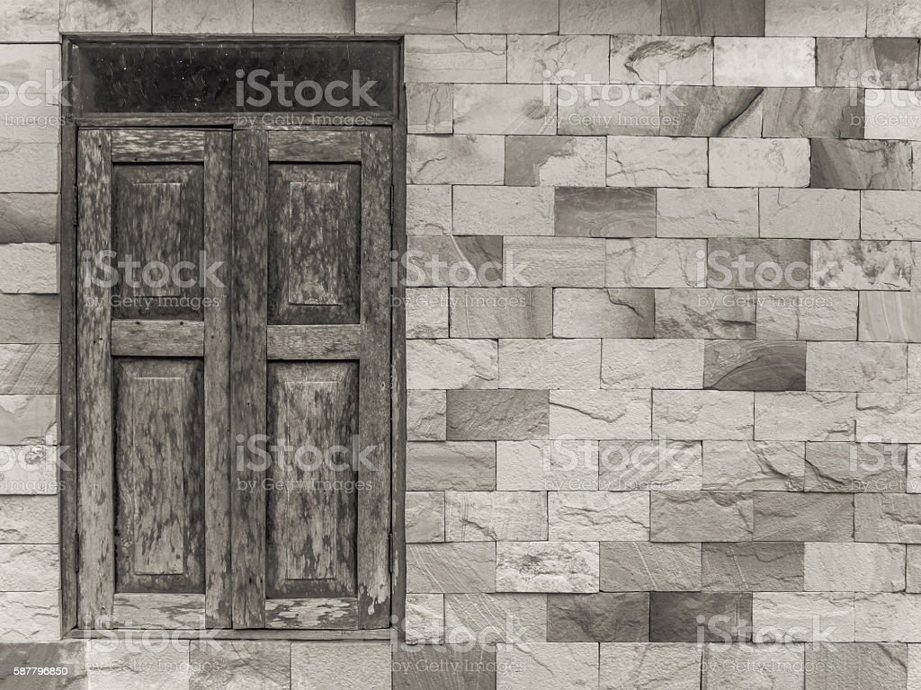 Old style window on modern style wall stock photo