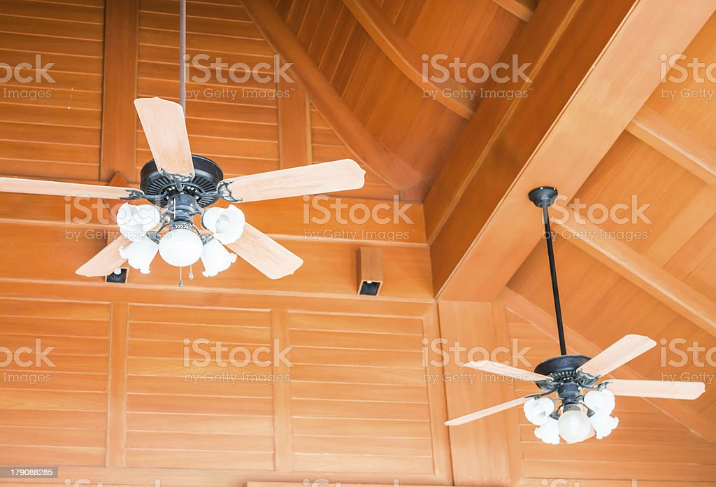 Old style wood ceiling fans with white glass lamps stock photo old style wood ceiling fans with white glass lamps royalty free stock photo aloadofball Image collections
