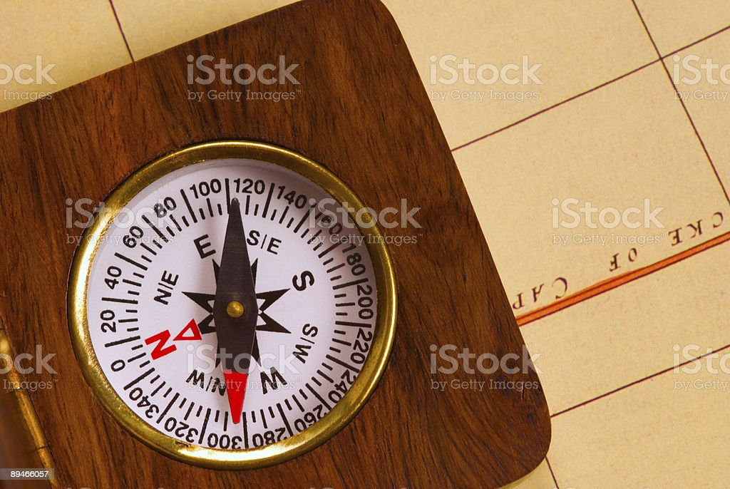 Old style wooden compass royalty-free stock photo